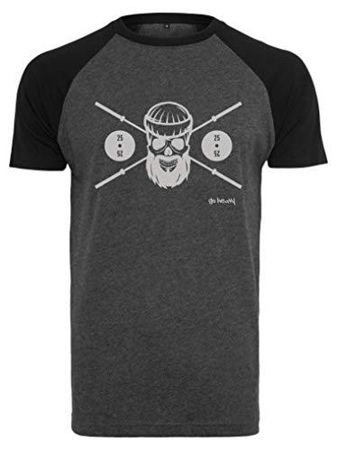 GO HEAVY Herren Kurzarm Baseball Trainingsshirt | Fitness Gym Sport T-Shirt | Barbell Skull | Grau/Schwarz M (Raglan-baseball-jersey)