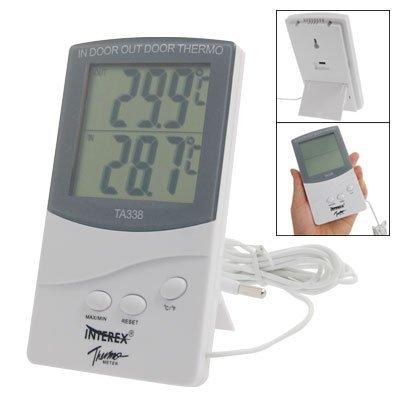 Outdoor batterie LCD numérique Powered Max-Min Thermomètre Blanc Gris