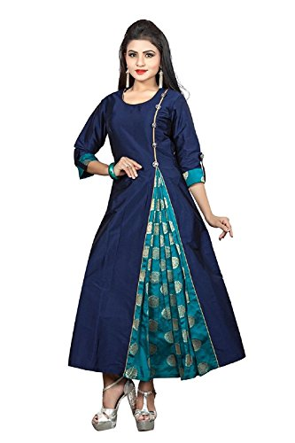 Divine International Women's Taffeta With Jacquard Silk Brocade A-Line Long Kurti (XX-Large,...