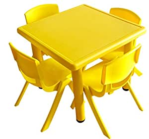 Playwell Playwell Square Table without Chairs, Blue/Red/Yellow/Green