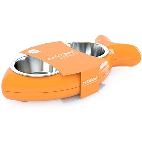 Hing Designs The Fish Bowl Edelstahl-Katzennapf mit zwei Schüsseln, orange (Fisch-schüssel Trinken)