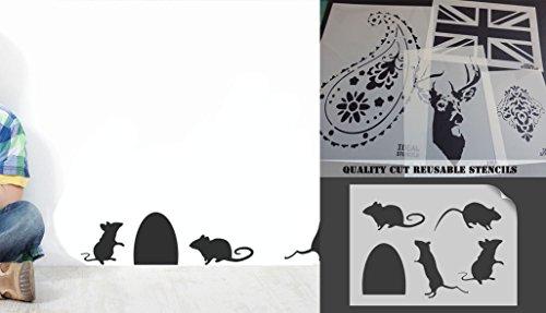 �e Mäuse Maus Silhouette Schablone, (14cm hohe Maus Loch) Home Decor, Art Craft Painting ideal Schablonen, plastik, MOUSE HOLE 14CM (Maus-silhouette)