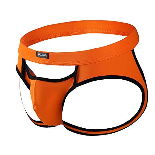 Fenverk Herren Reizvoll Briefs Unterwäsche Unterhose Wetlook Slips Shorts Tanga Jockstrap (Orange-01,S)