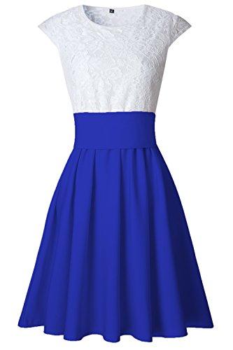 Le Donne Eleganti Pac Manica Lace Mosaico In Forma E Bengala Nero Plissettato Swing Vestito Blue
