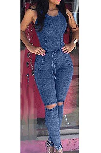 Sans manches Bodycon des femmes déchiré Jeans Denim Jumpsuit blue