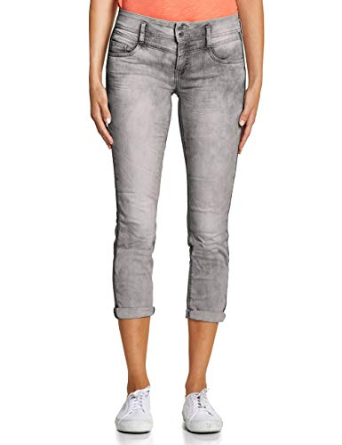 Street One Damen 372419 Jane Casual Fit Slim Jeans, Grey Heavy Acid wash, W29/L28 (Herstellergröße:29) -