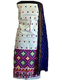 KATHIWALAS Women's Cotton Silk Kutch Work Bandhani/Bandhej Unstitched Dress Material Suit (WHITE BLUE, Free Size)