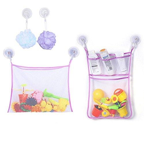 Swallowuk Badewanne Spielzeugnetz Mesh Bag Badezimmer Lagerung Tasche Aufbewahrungs Tasche (Lila)