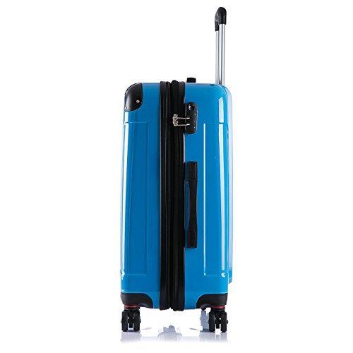 WOLTU RK4212bl, Reise Koffer Trolley Hartschale Volumen erweiterbar, Reisekoffer Hartschalenkoffer 4 Rollen, M/L/XL/Set, leicht und günstig, Blau 3er Set (M+L+XL) - 3