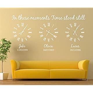Personalised Family Wall Art Sticker, in These Moments time Stood Still Sticker (M:100cm x 50cm, White)