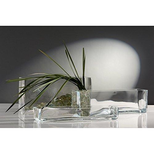 Glasvase Vase Glas Blumenvase Tischvase Glasschale groß rechteckig, 40x12x6,5