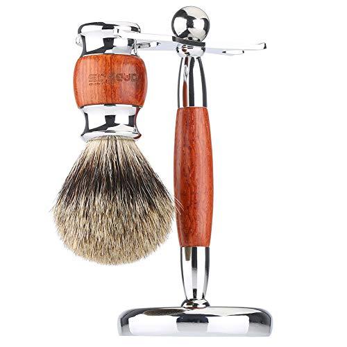 Anbbas Rasierset Luxus Herren Geschenk Set Rasierpinsel Dachshaar silberspitz mit Rasiermesserständer für 2in1 Klassische Nassrasur