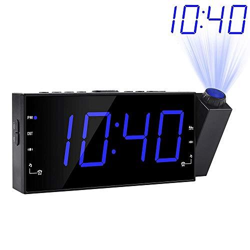 KIOio Reloj de proyección, 3 atenuadores, alarmas Dobles, Puerto de Carga USB, alimentación de Salida y batería de Respaldo, Radio FM (Color : Azul)