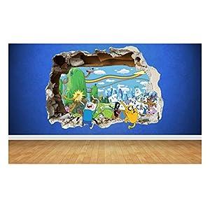 Thorpe Signs Adventure Time 3D Stil zerstörten Wand Aufkleber Kinder Schlafzimmer Vinyl Art, Vinyl, Large: 80cm x 58cm