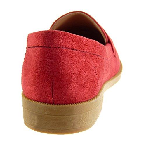 Cm on 2 Mocassino Scarpa 5 Rosso Blocco Tacco Donna Angkorly Slip Modo Tanga IpqnPgAA