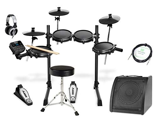 Alesis Turbo Mesh Kit Deluxe Set (Siebenteiliges E-Drum Kit mit Mesh Heads & Drum Modul im Deluxe Set inkl. Drumhocker, DJ-Kopfhörer, Drum Monitor & Instrumentenkabel) Schwarz