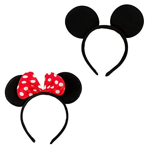 Haarreifen mit Maus Ohren Schwarz Rot Weiß Gepunktet Haarreif für Fasching Karneval Kostüm Motto Party ()