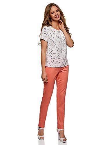 oodji Collection Donna Pantaloni in Cotone Elasticizzato Rosa (4300N)