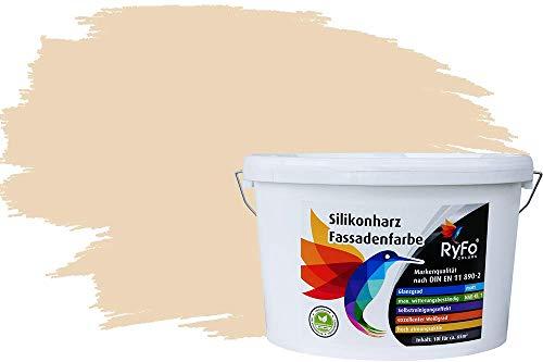 RyFo Colors Silikonharz Fassadenfarbe Lotuseffekt Trend Cottonbeige 10l - bunte Fassadenfarbe, weitere Gelb Farbtöne und Größen erhältlich, Deckkraft Klasse 1