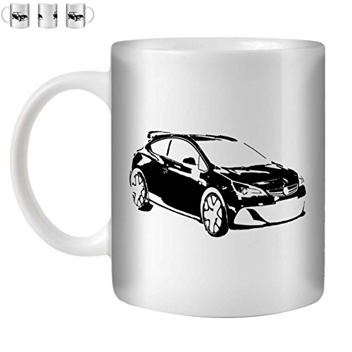 Stuff4 Tee/Kaffee Becher 350ml/Schwarz/Opel Astra OPC J/Weißkeramik/ST10