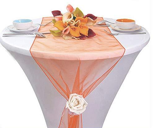 aus Organza, 30,5 x 274,3 cm, für Hochzeiten, Partys, Events, Bankett, Essen, Tischdekoration - 43 Farben, pfirsich, 38 cm ()
