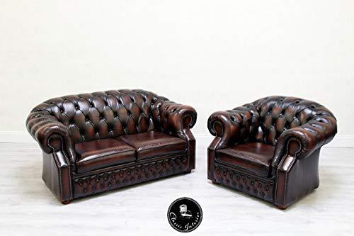 Leder Sitzgarnitur Sofa (Classic Interior Chesterfield 1/2 Sofagarnitur Leder Englisch Sitzgarnitur Sofa)