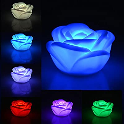 Youpin 7 Color Changing Rose Flower Night Light,Rose Shape Candle LED Mostone Night Lamp Colorama Light Novelty Romantic Plastic Cute Lamp For Room Christmas Party Decor Decoration by Youpin by seguryy