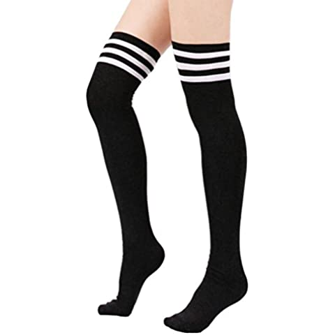 Women Triple Stripe Tube Dresses Over the Knee High Socks Anime Cosplay Cosplay Props