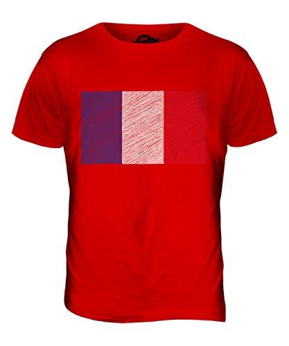 CandyMix Frankreich Kritzelte Flagge Herren T Shirt Rot