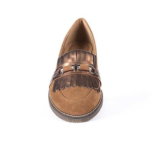 Ideal Shoes Mocassins Effet Daim avec Franges Nacrées Ally Camel