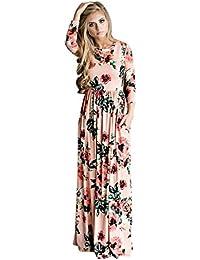 Vestido Para Mujer, Ularma Mujeres Floral impresión manga vestido Boho damas Maxi largo vestido de