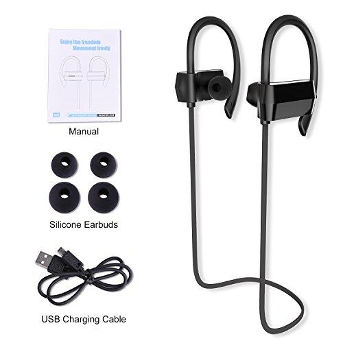 Sunvito Bluetooth V4.1 Headset, Sweatproof Sport drahtloser Kopfhörer In-Ear-Ohrhörer mit Mikrofon für Lauftraining Gym (Stereo, Geräusch-Annullierung, 6 Stunden Spielzeit, Sichere Ohrbügel Design) - 4