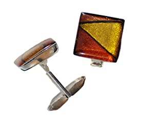Tumi dichroic cufflinks square hand made in Mexico, silver plated.