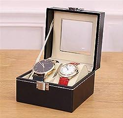 UhrenkastenHolz Uhr Display Lagerung Inhaber Schmuck Organizer Sammlung Fall Mit Glasabdeckung Armband Schmuckschatulle Pu-Leder Uhren Box,2Bit