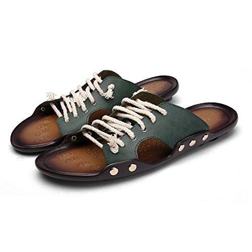 Männer WANGXN Weaving Gürtel Retro Schuhe Hausschuhe Leder Massage Schuhe 609 green