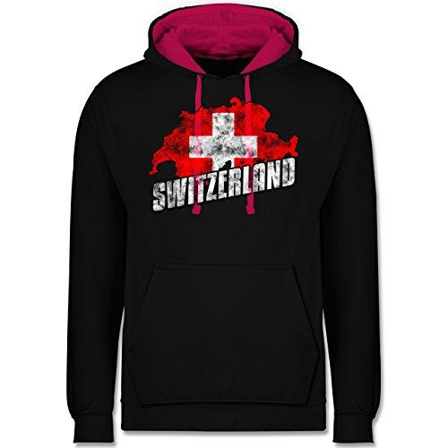 Fußball-WM 2018 - Russland - Switzerland Umriss Vintage - Kontrast Hoodie Schwarz/Fuchsia