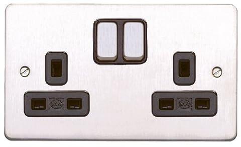 MK Edge K14347BSSB 13A 2-Gang Double Pole Switch