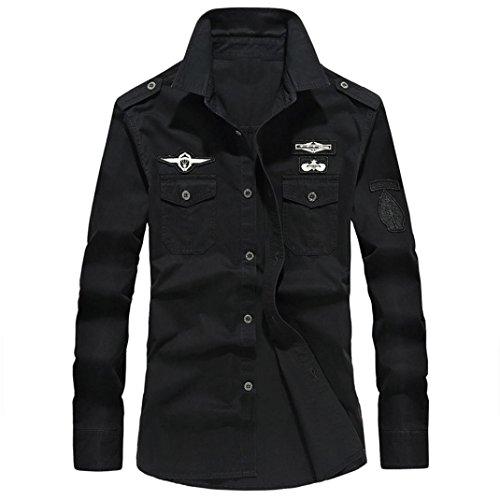 Coupon Matrix - Lolittas Mens Shirts Long Cuff Sleeve Top Casual Slim Fit, Military Coat Button V Neck Turn Down Collar Retro England UK Sale Cotton XXL XXXL XXXXXL XXXXXXL (XXXX-Large, Black)