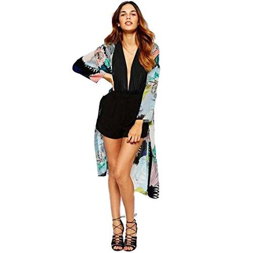 Homebaby® copricostume mare cardigan donna kimono - chiffon casual cotone estivo scialle elegante - costume da bagno sexy - vestito lungo estate boho tunica etnica abito da spiaggia (s, nero)