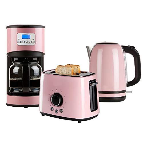 Retro Frühstücksset in pastellfarben Kaffeemaschine, Toaster und Wasserkocher (rosa)