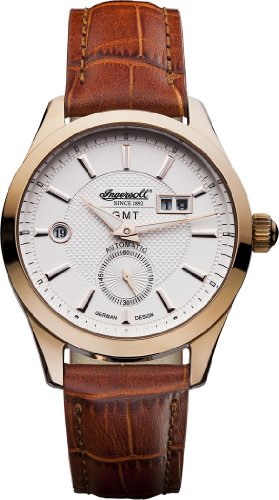 Ingersoll Men's Automatic Watch with White Dial Analogue Display and Brown Leather Strap IN8703RWH