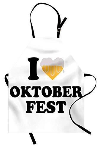 Oktoberfest-Schürze, ich liebe Oktoberfest-Beschriftungszitat Bier-Schaum-Herzgenuss-Illustration, Unisexküchen-Latzschürze mit justierbarem Hals für das Kochen des Backens Gartenarbeit, gelbes Weiß