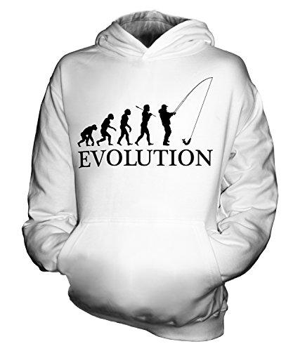 CandyMix Angeln Fischfang Evolution Des Menschen Unisex Kinder Jungen/Mädchen Kapuzenpullover, Größe 1-2 Jahre, Farbe Weiß