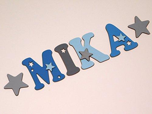Holzbuchstaben in toller Farbkombination für die Kinderzimmertür. Einzigartige Kinderzimmerdekoration. Handbemaltes Unikat. Als Wunschname individualisierbar / Inklusive 2 Sternmotiven in passenden Farben