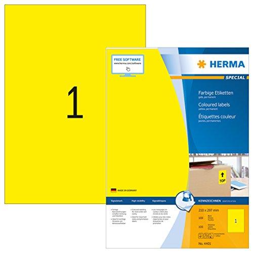 Herma 4401 Farbetiketten (210 x 297 mm, Format DIN A4, Papier matt) 100 Stück auf 100 Blatt, gelb, bedruckbar, selbstklebend