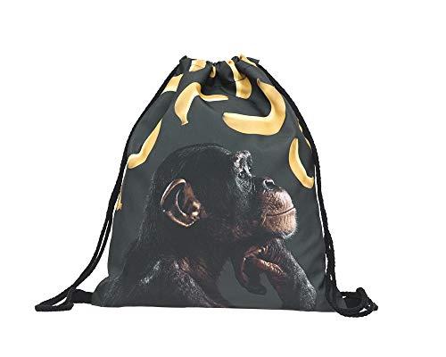 seitlicher Affen-Kopf Bananen - mit lustigem Spruch Aufdruck Sportbeutel lustige Sprüche Tüte Rucksack Beutel Tasche Gym Bag Hipster Fashion Sport-Tasche Einkaufs-Tasche RU-333 ()