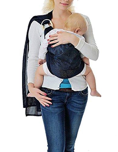 CUBY  Fular Portabebé Unisex, Un Tamaño para Todos - Porta bebé para Madre y Padre - Calidad superior, Multiuso: Portador, Manta para Lactancia, Canguro, Cinturón posparto (Azul oscuro)