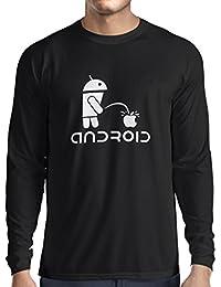 N4247L T-Shirt mit langen Ärmeln Funny Robot and apple