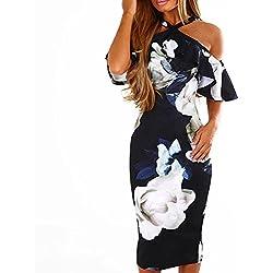 Vestidos de Mujer, ASHOP Vestido Verano 2018 Sin Mangas Casual Ajustados T-Shirt Vestido Coctel Fiesta Largo Dress Estampado Floral Boho Playa Falda Elegantes en Oferta (S, Armada)