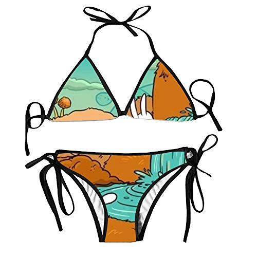 suits Adjustable Strap Tropical Floral Pattern Bikini Set Two Pieces Swimwear ()